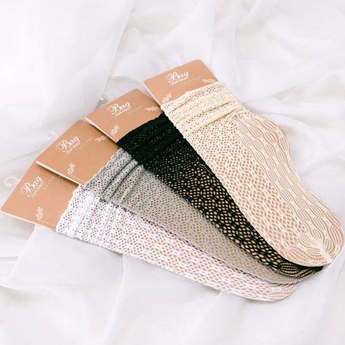 春夏网眼透气堆堆袜子 松口蕾丝女袜 纯棉  镂空中筒袜子