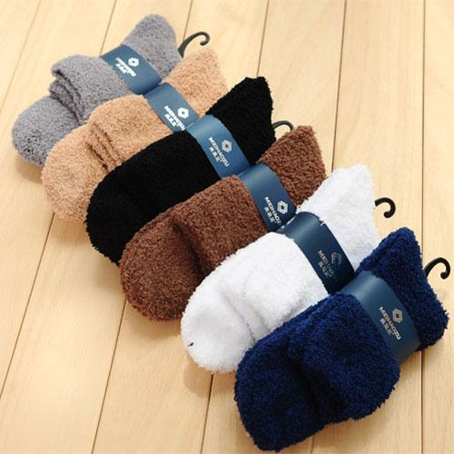 冬款加厚毛巾袜子批发 毛圈袜  半边绒珊瑚绒 加厚保暖 纯色中筒袜