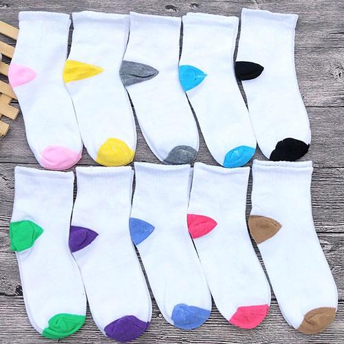 白色彩跟平板女士运动袜 无标中筒袜中腰 地摊货源袜子 秋冬款