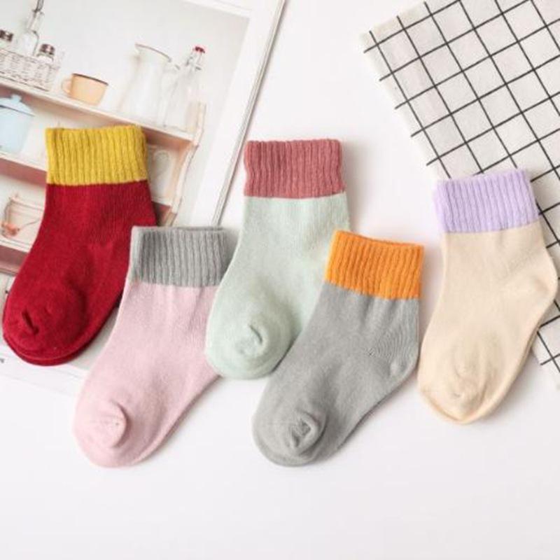 秋冬儿童棉袜子 中筒童袜 日系拼色 宽条 中厚