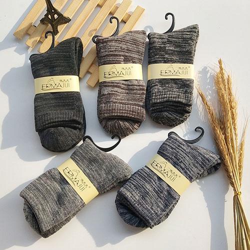 冬季男士加厚毛圈袜子 复古拉毛 加绒保暖 毛巾袜