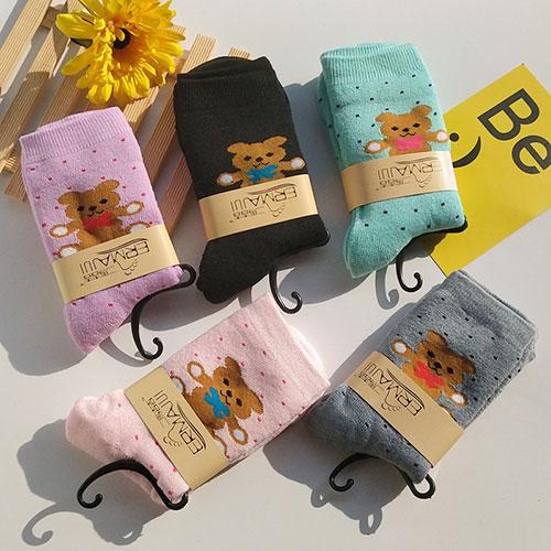 冬季女士毛圈加厚袜子 卡通小熊 加绒保暖 毛巾袜子批发
