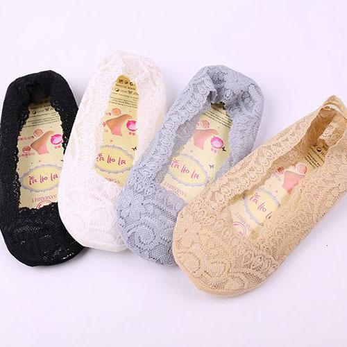 6-10岁中童女童蕾丝花边硅胶防滑舒适隐形船袜子