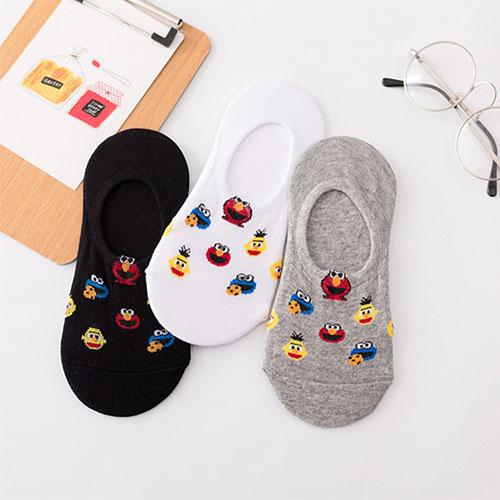 韩国芝麻街艾摩系列 卡通大眼睛  硅胶防脱浅口隐形袜子